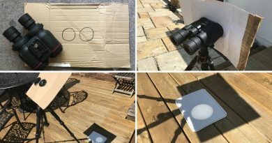 How to use binoculars to safely project the the crescent Sun during the eclipse