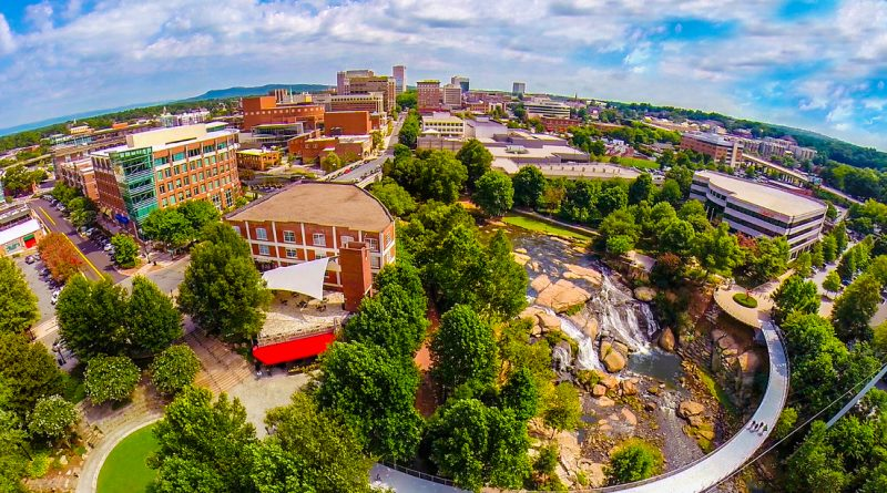 Aerial View over Falls Park on the Reedy